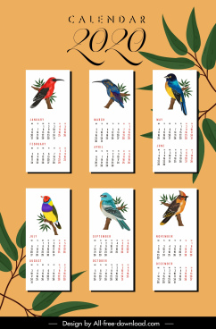 2020 calendar templates nature theme bird species decor