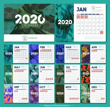 2020 calendar templates nature themes colorful leaves decor