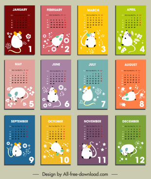 2020 calendar templates oriental decor white rat icons