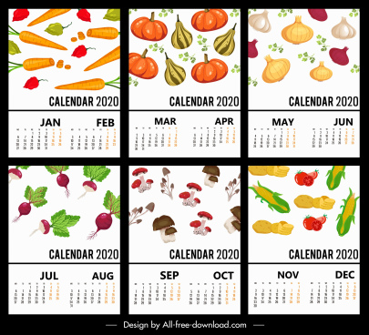 2020 calendar templates vegetables theme colorful decor