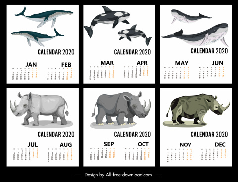 2020 calendar templates wild animals icons decor