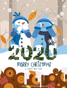 2020 christmas banner cute stylized snowman decor