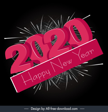 2020 new year banner 3d texts fireworks decor