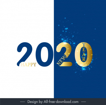 2020 new year banner bright modern sparkling decor