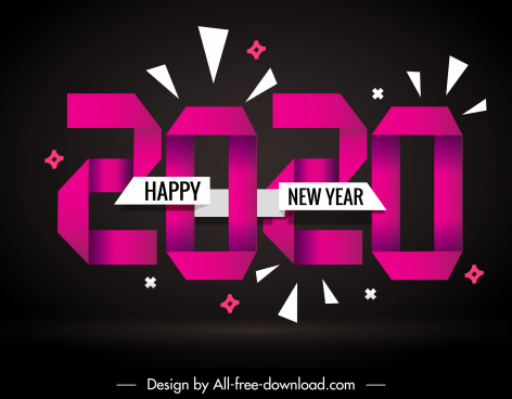 2020 new year banner dark decor origami numbers