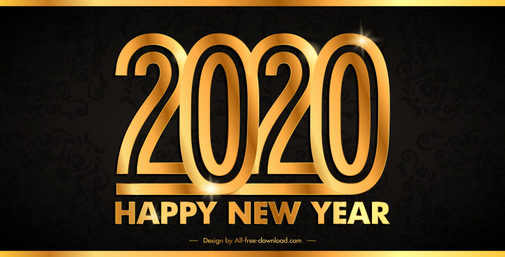 2020 new year banner modern sparkling golden numbers