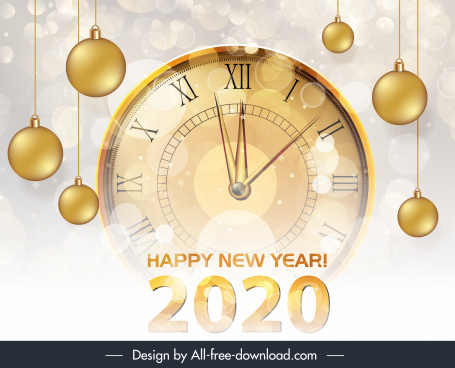2020 new year banner shiny bokeh clock baubles