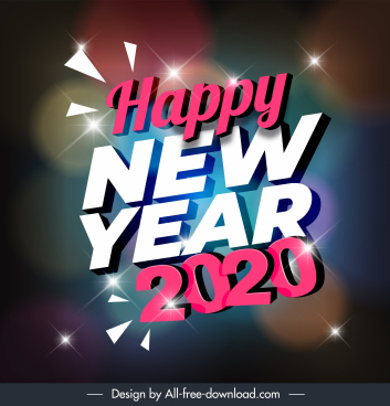 2020 new year banner sparkling lights texts decor