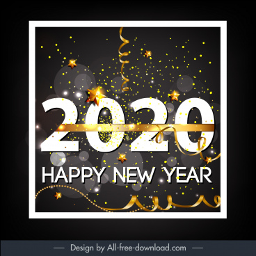 2020 new year banner twinkling eventful confetti decor