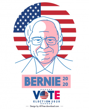 2020 usa election banner handdrawn candidate portrait sketch