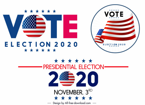 2020 usa election logos shiny modern colored design