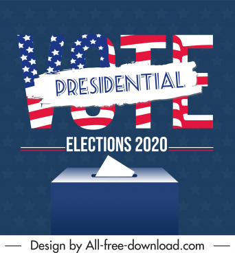 2020 usa election poster texts flag elements decor
