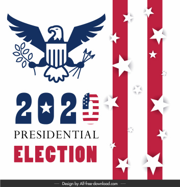 2020 usa president election poster flag elements decor