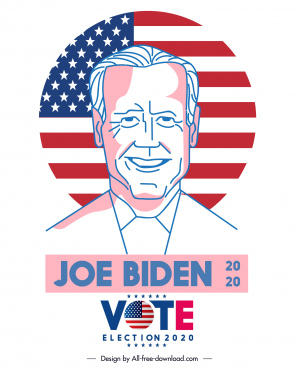 2020 usa voting banner candidate sketch handdrawn design