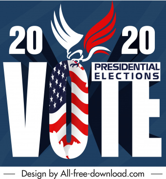 2020 usa voting banner text flag eagle decor