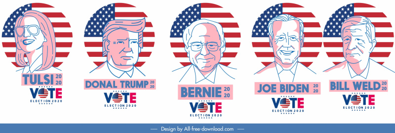 2020 usa voting icons character portraits flag sketch