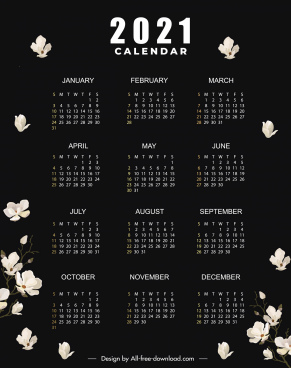 2021 calendar template black dark design floras decor
