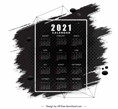 2021 calendar template black white grunge decor
