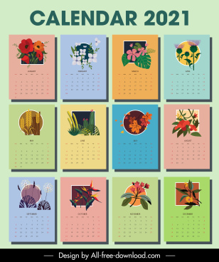 2021 calendar template botanical plants decor