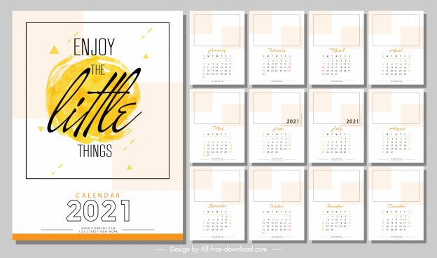 2021 calendar template bright blank texts decor