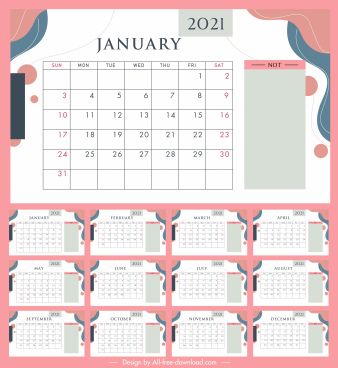 2021 calendar template bright colorful classic flat decor