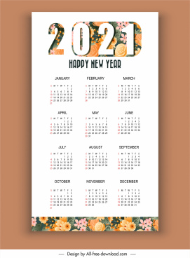 2021 calendar template bright colorful flowers decor
