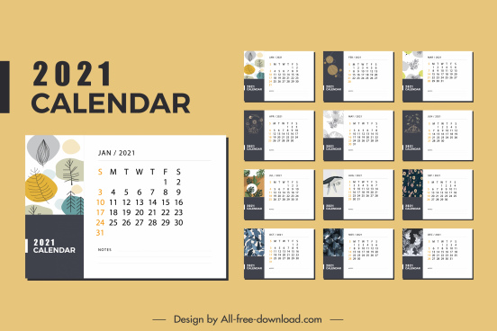 2021 calendar template classic bright decor plants theme