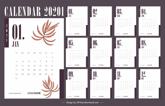 2021 calendar template classic bright white leaf decor