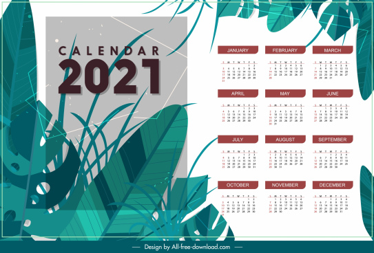 2021 calendar template classic natural leaves decor