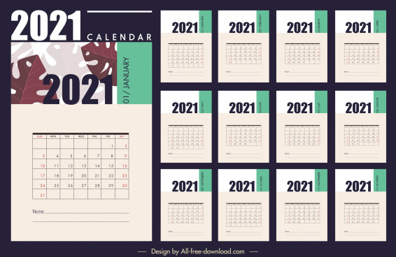 2021 calendar template classical flat plain leaf decor