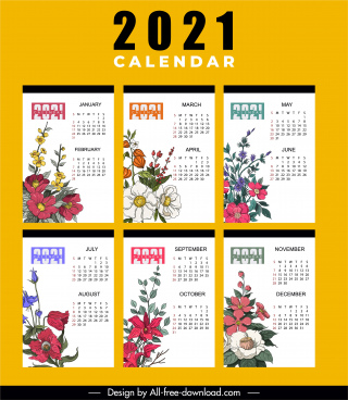 2021 calendar template colorful classic botany decor