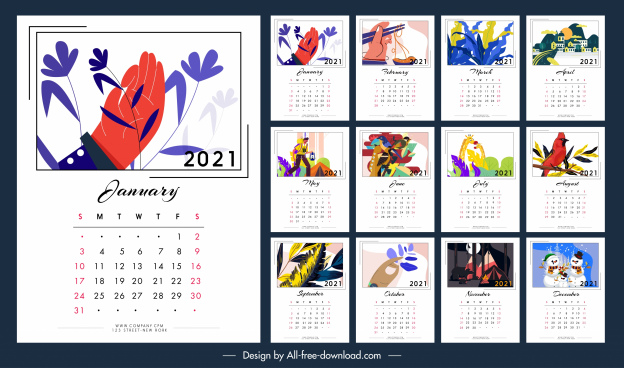 2021 calendar template colorful classical decor life themes