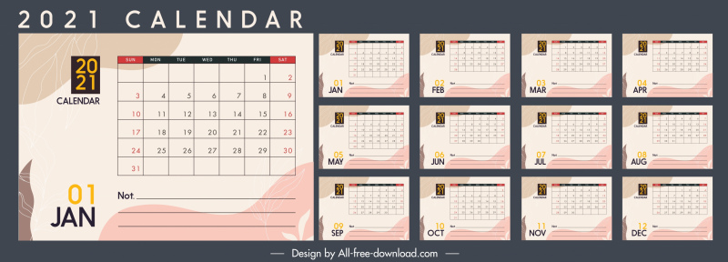 2021 calendar template colorful flat retro decor