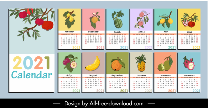 2021 calendar template colorful fruits icons sketch