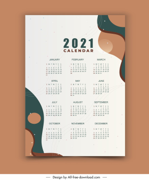 2021 calendar template colorful retro circle curves design