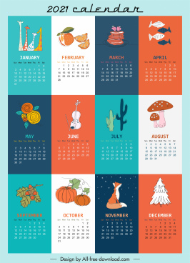 2021 calendar template colorful retro handdrawn symbols decor