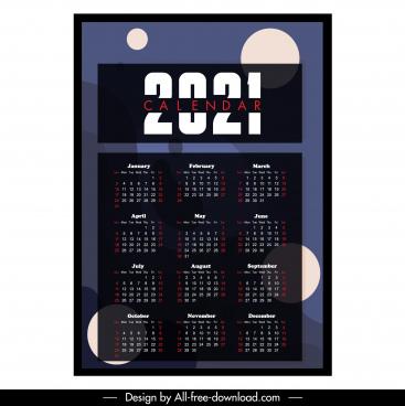 2021 calendar template dark blurred abstract decor