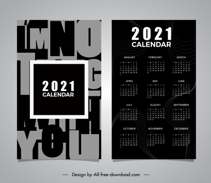 2021 calendar template dark texts decor