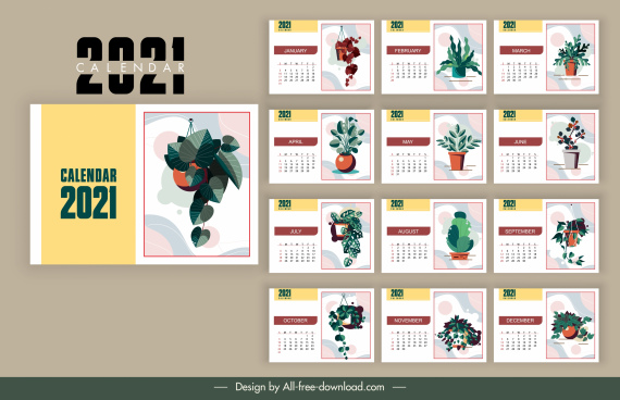 2021 calendar template decorated flower pots decor