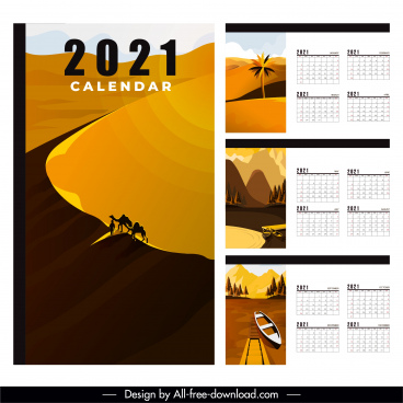 2021 calendar template desert lake river scenes decor