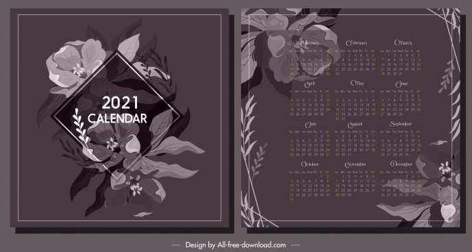 2021 calendar template elegant botany decor dark classic