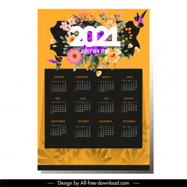 2021 calendar template elegant colorful flowers birds decor