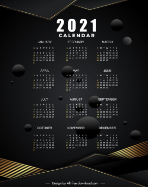 2021 calendar template elegant modern dark decor