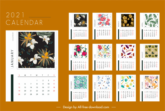 2021 calendar template elegant seasonal plants decor