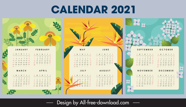 2021 calendar template floral plant decor