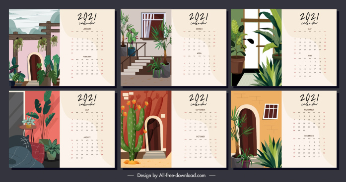 2021 calendar template house decor theme classic design