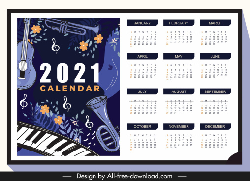2021 calendar template jazz instruments dark classic