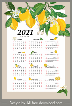 2021 calendar template lemon tree sketch colorful decor