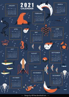 2021 calendar template marine creatures decor dark design