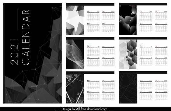 2021 calendar template modern black white abstract